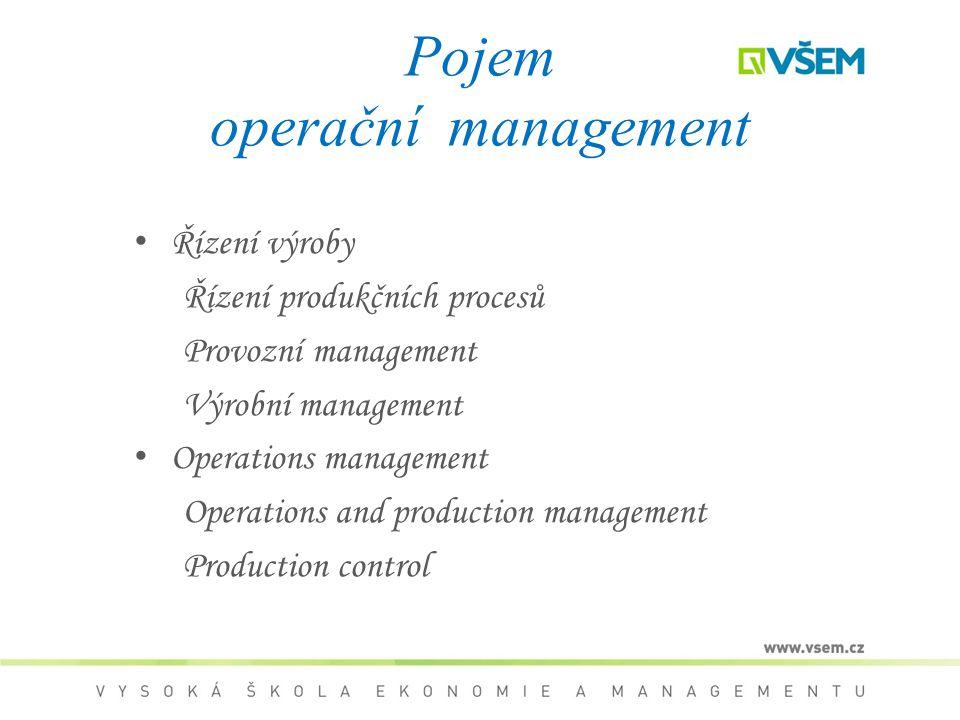 Pojem operační management Řízení výroby Řízení produkčních procesů Provozní management Výrobní management Operations management Operations and product