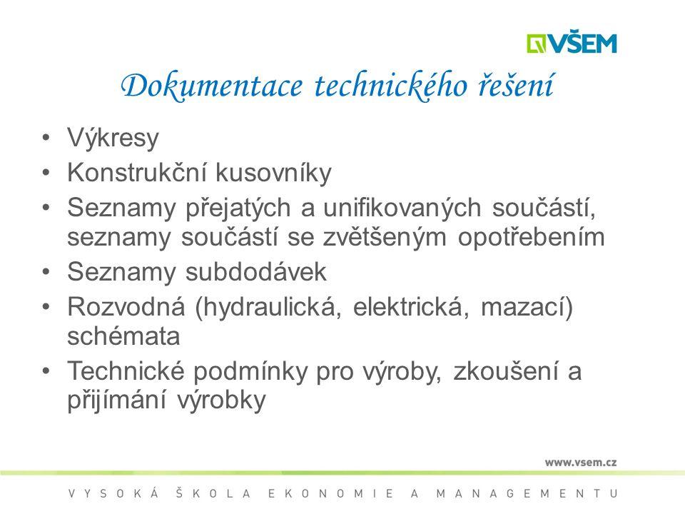 Dokumentace technického řešení Výkresy Konstrukční kusovníky Seznamy přejatých a unifikovaných součástí, seznamy součástí se zvětšeným opotřebením Seznamy subdodávek Rozvodná (hydraulická, elektrická, mazací) schémata Technické podmínky pro výroby, zkoušení a přijímání výrobky