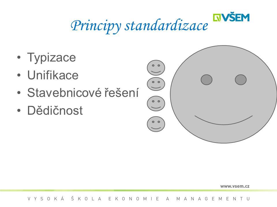 Principy standardizace Typizace Unifikace Stavebnicové řešení Dědičnost