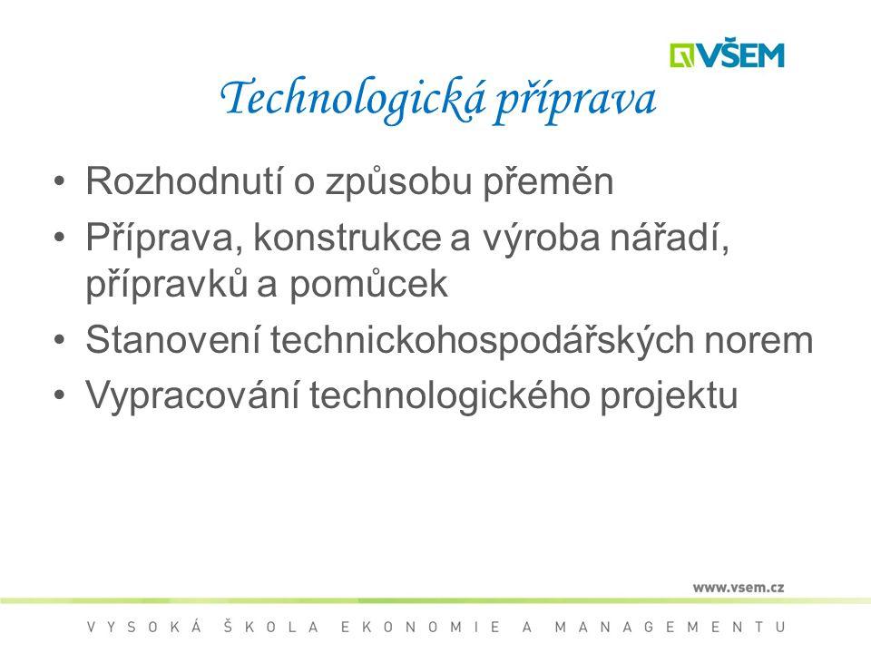 Technologická příprava Rozhodnutí o způsobu přeměn Příprava, konstrukce a výroba nářadí, přípravků a pomůcek Stanovení technickohospodářských norem Vypracování technologického projektu