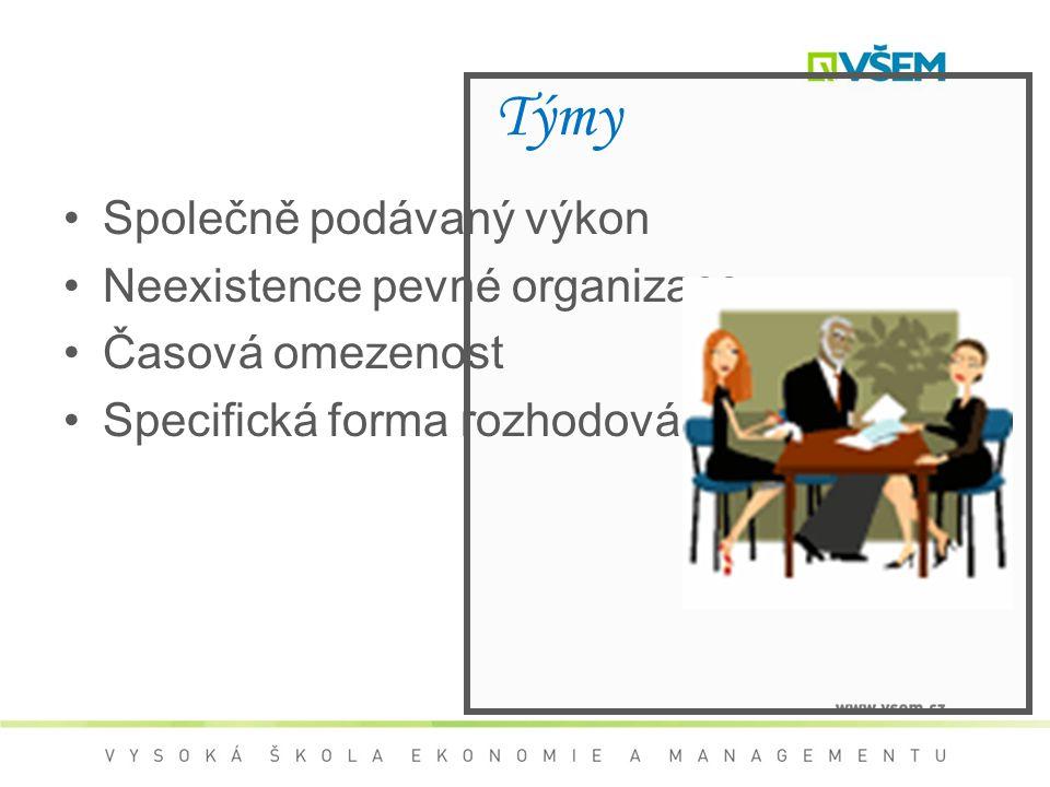 Týmy Společně podávaný výkon Neexistence pevné organizace Časová omezenost Specifická forma rozhodování