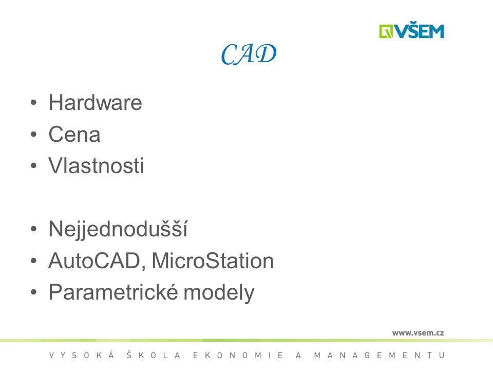 CAD Hardware Cena Vlastnosti Nejjednodušší AutoCAD, MicroStation Parametrické modely