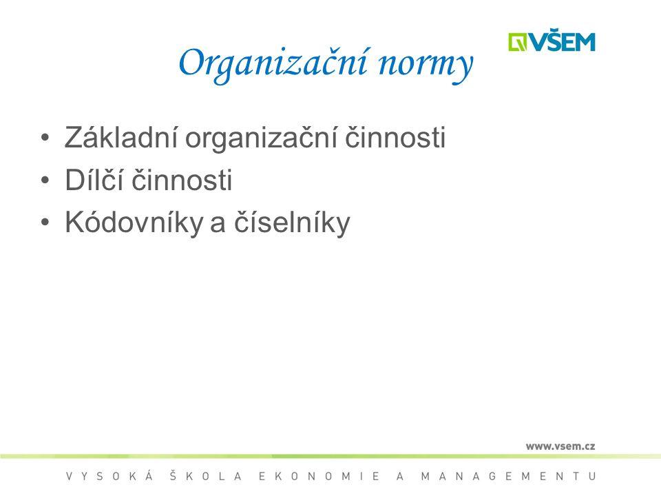 Organizační normy Základní organizační činnosti Dílčí činnosti Kódovníky a číselníky