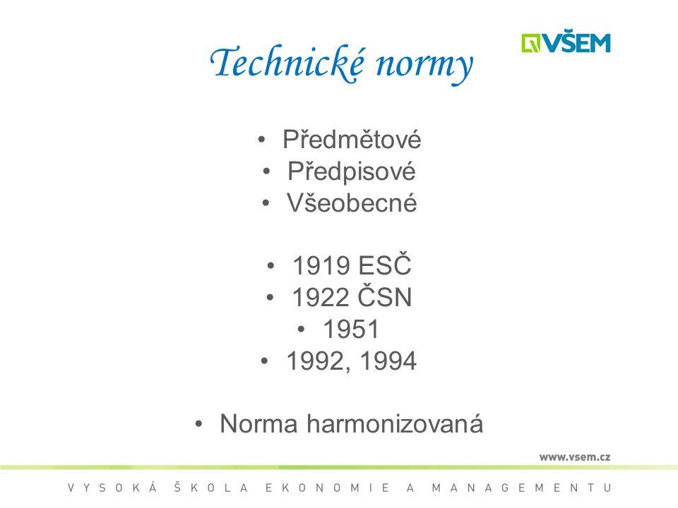 Předmětové Předpisové Všeobecné 1919 ESČ 1922 ČSN 1951 1992, 1994 Norma harmonizovaná