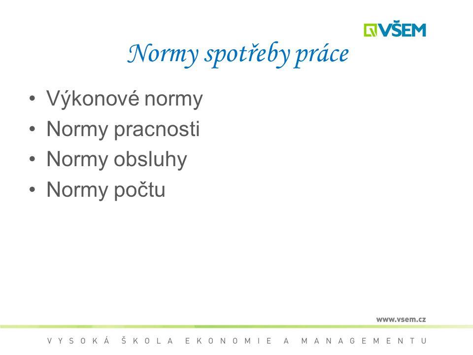 Normy spotřeby práce Výkonové normy Normy pracnosti Normy obsluhy Normy počtu