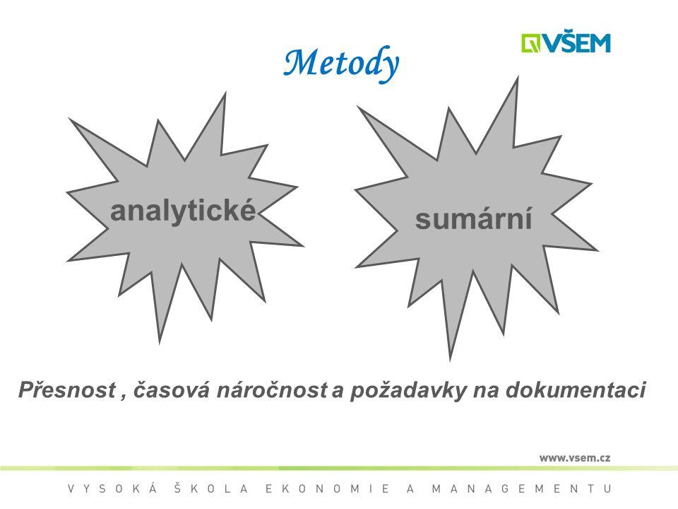Metody sumární analytické Přesnost, časová náročnost a požadavky na dokumentaci