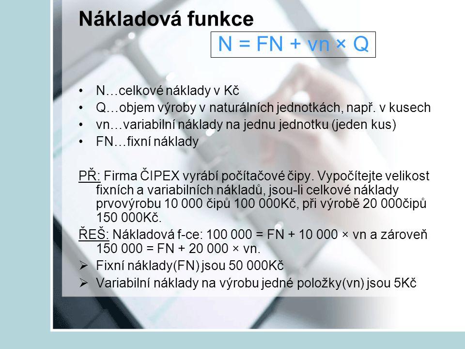 Nákladová funkce N = FN + vn × Q N…celkové náklady v Kč Q…objem výroby v naturálních jednotkách, např. v kusech vn…variabilní náklady na jednu jednotk