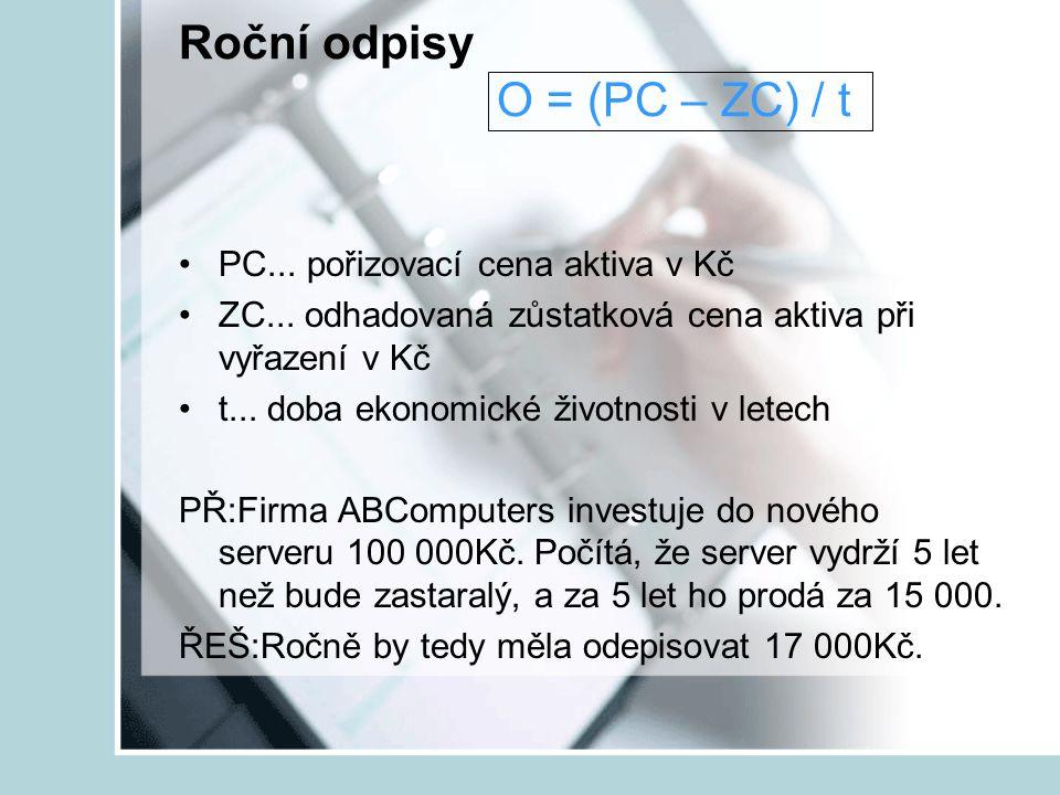 Roční odpisy O = (PC – ZC) / t PC... pořizovací cena aktiva v Kč ZC... odhadovaná zůstatková cena aktiva při vyřazení v Kč t... doba ekonomické životn