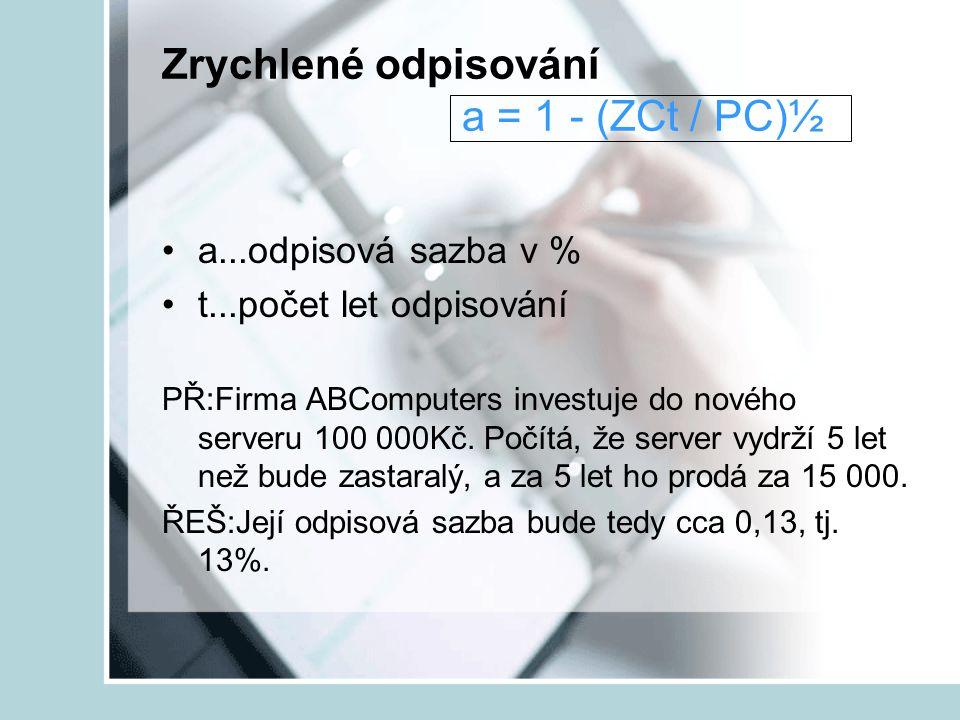 Zrychlené odpisování a = 1 - (ZCt / PC)½ a...odpisová sazba v % t...počet let odpisování PŘ:Firma ABComputers investuje do nového serveru 100 000Kč. P