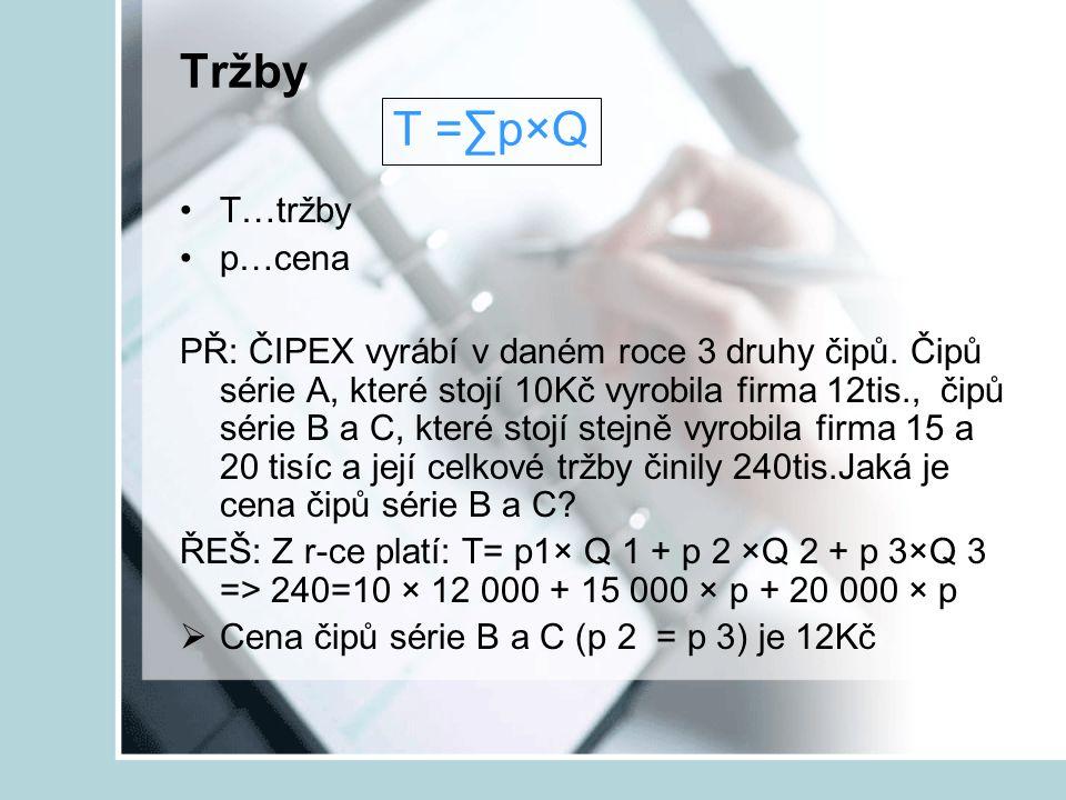 Tržby T =∑p×Q T…tržby p…cena PŘ: ČIPEX vyrábí v daném roce 3 druhy čipů. Čipů série A, které stojí 10Kč vyrobila firma 12tis., čipů série B a C, které