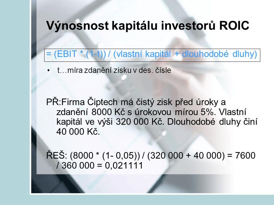 Výnosnost kapitálu investorů ROIC = (EBIT * (1-t)) / (vlastní kapitál + dlouhodobé dluhy) PŘ:Firma Čiptech má čistý zisk před úroky a zdanění 8000 Kč