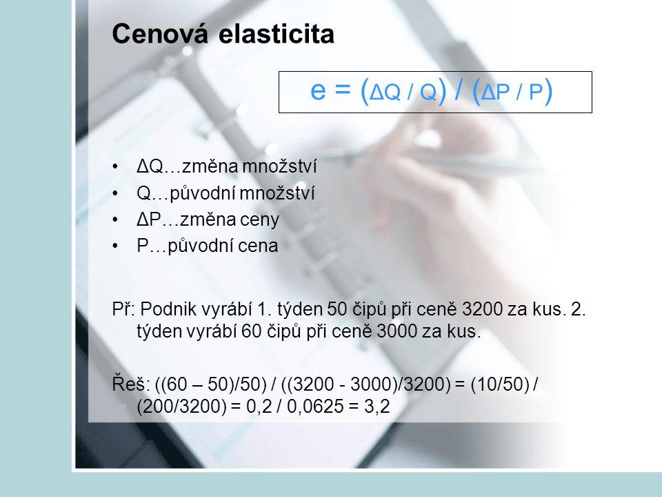 Cenová elasticita e = ( ΔQ / Q ) / ( ΔP / P ) ΔQ…změna množství Q…původní množství ΔP…změna ceny P…původní cena Př: Podnik vyrábí 1. týden 50 čipů při