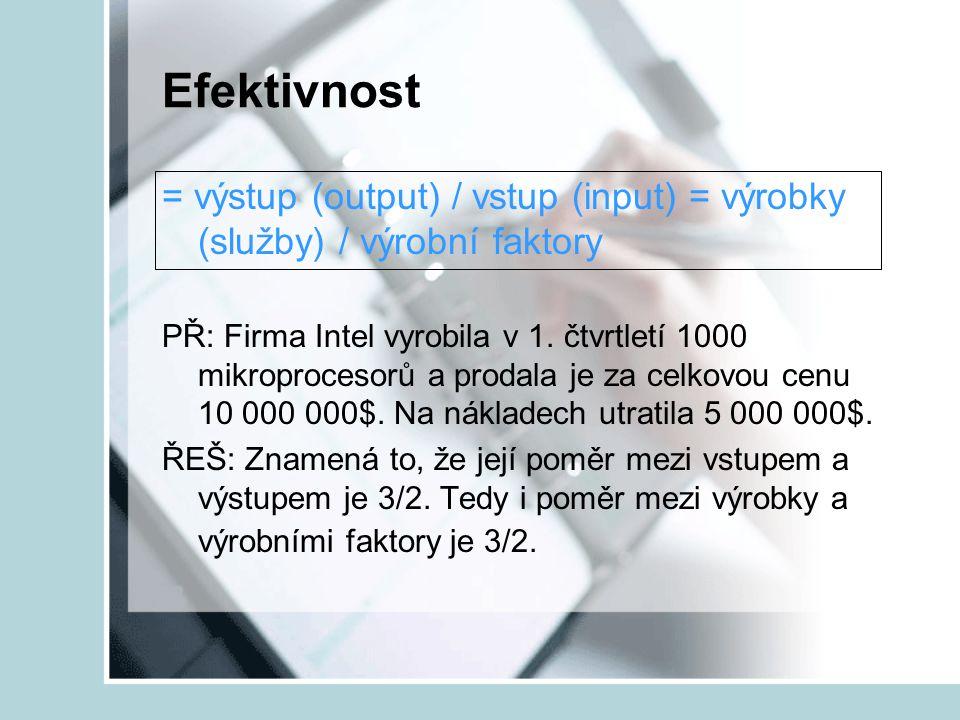 Efektivnost = výstup (output) / vstup (input) = výrobky (služby) / výrobní faktory PŘ: Firma Intel vyrobila v 1. čtvrtletí 1000 mikroprocesorů a proda