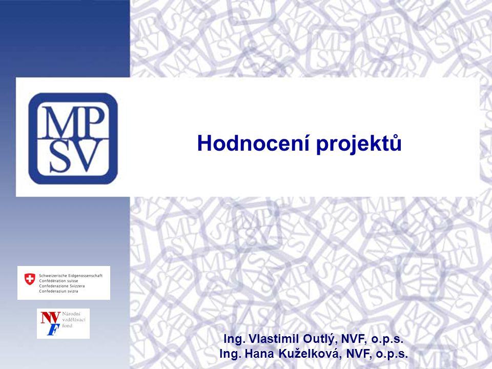 Hodnocení projektů Ing. Vlastimil Outlý, NVF, o.p.s. Ing. Hana Kuželková, NVF, o.p.s.
