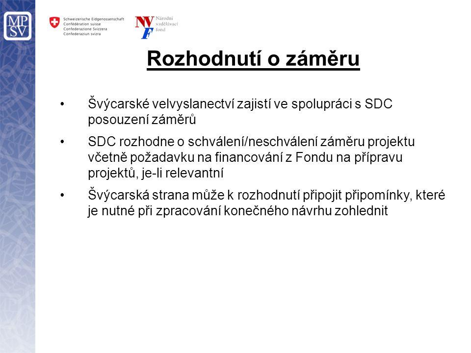Rozhodnutí o záměru Švýcarské velvyslanectví zajistí ve spolupráci s SDC posouzení záměrů SDC rozhodne o schválení/neschválení záměru projektu včetně požadavku na financování z Fondu na přípravu projektů, je-li relevantní Švýcarská strana může k rozhodnutí připojit připomínky, které je nutné při zpracování konečného návrhu zohlednit