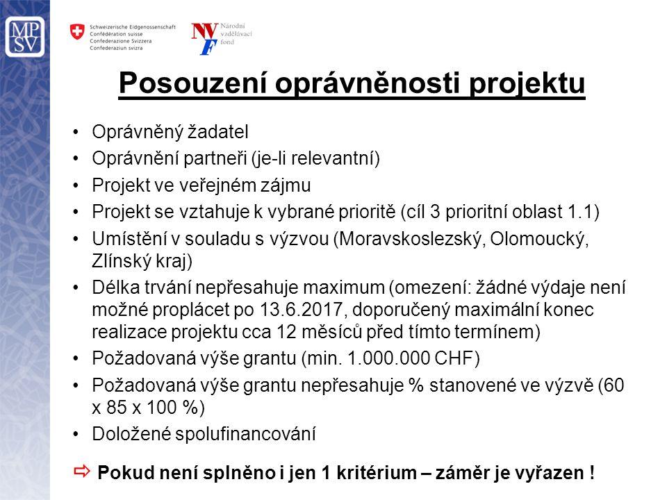 Posouzení oprávněnosti projektu Oprávněný žadatel Oprávnění partneři (je-li relevantní) Projekt ve veřejném zájmu Projekt se vztahuje k vybrané prioritě (cíl 3 prioritní oblast 1.1) Umístění v souladu s výzvou (Moravskoslezský, Olomoucký, Zlínský kraj) Délka trvání nepřesahuje maximum (omezení: žádné výdaje není možné proplácet po 13.6.2017, doporučený maximální konec realizace projektu cca 12 měsíců před tímto termínem) Požadovaná výše grantu (min.
