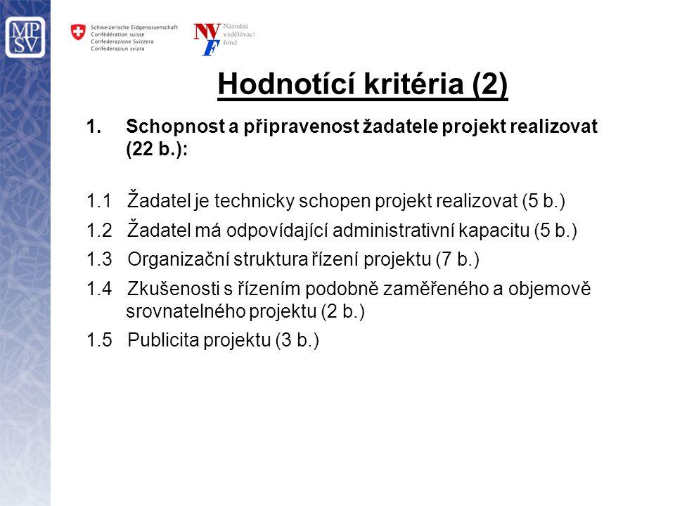 Hodnotící kritéria (2) 1.Schopnost a připravenost žadatele projekt realizovat (22 b.): 1.1 Žadatel je technicky schopen projekt realizovat (5 b.) 1.2 Žadatel má odpovídající administrativní kapacitu (5 b.) 1.3 Organizační struktura řízení projektu (7 b.) 1.4 Zkušenosti s řízením podobně zaměřeného a objemově srovnatelného projektu (2 b.) 1.5 Publicita projektu (3 b.)
