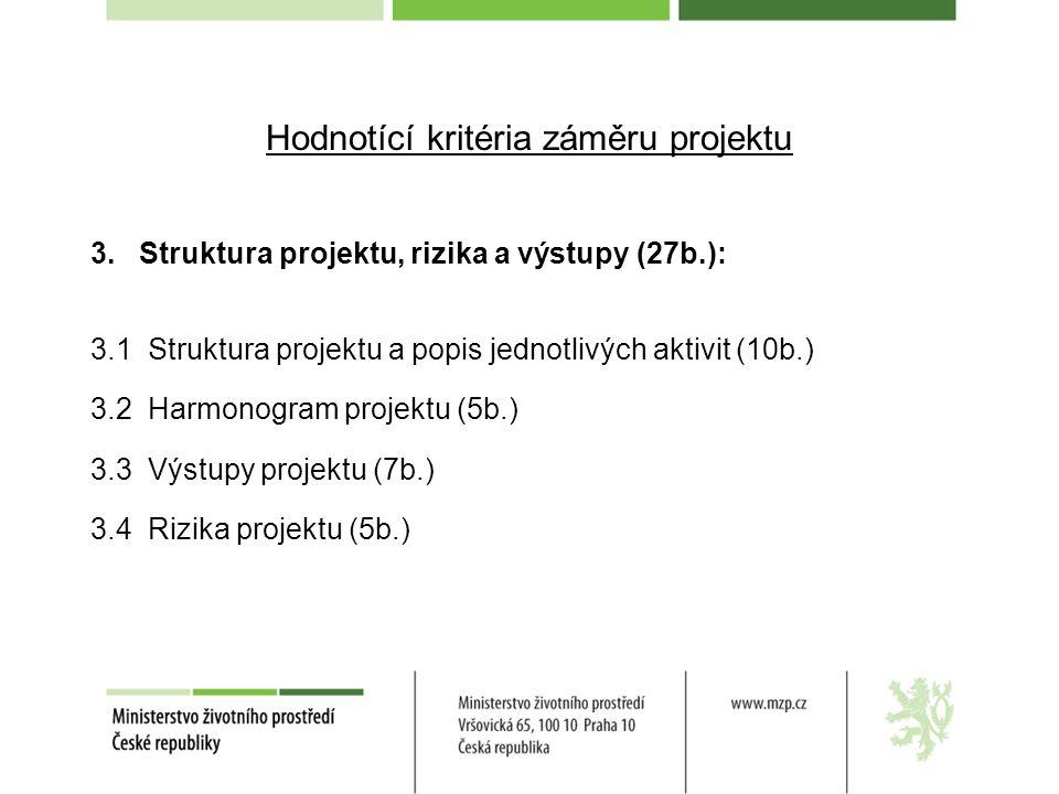 Hodnotící kritéria záměru projektu 3. Struktura projektu, rizika a výstupy (27b.): 3.1 Struktura projektu a popis jednotlivých aktivit (10b.) 3.2 Harm