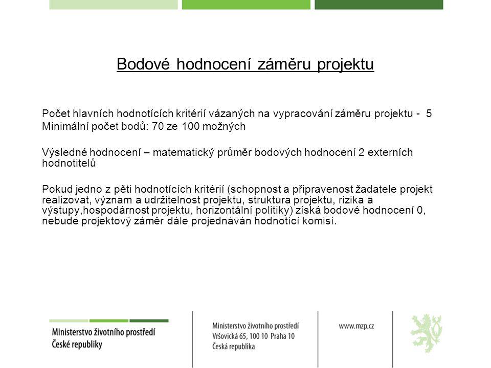 Bodové hodnocení záměru projektu Počet hlavních hodnotících kritérií vázaných na vypracování záměru projektu - 5 Minimální počet bodů: 70 ze 100 možný
