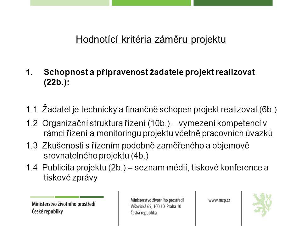 Hodnotící kritéria záměru projektu 1.Schopnost a připravenost žadatele projekt realizovat (22b.): 1.1 Žadatel je technicky a finančně schopen projekt