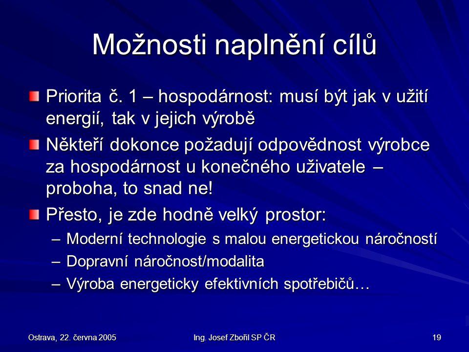 Ostrava, 22. června 2005 Ing. Josef Zbořil SP ČR 19 Možnosti naplnění cílů Priorita č.