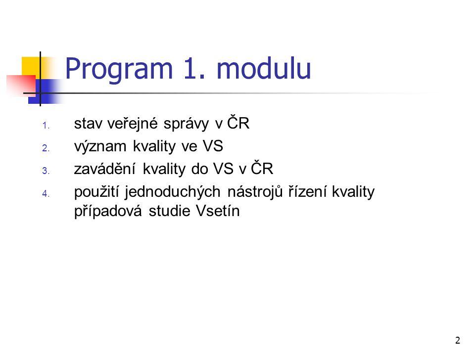 2 Program 1. modulu 1. stav veřejné správy v ČR 2. význam kvality ve VS 3. zavádění kvality do VS v ČR 4. použití jednoduchých nástrojů řízení kvality