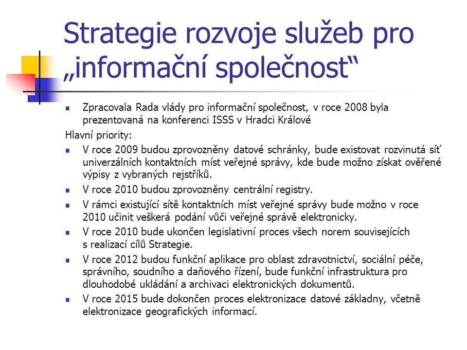 """Strategie rozvoje služeb pro """"informační společnost"""" Zpracovala Rada vlády pro informační společnost, v roce 2008 byla prezentovaná na konferenci ISSS"""