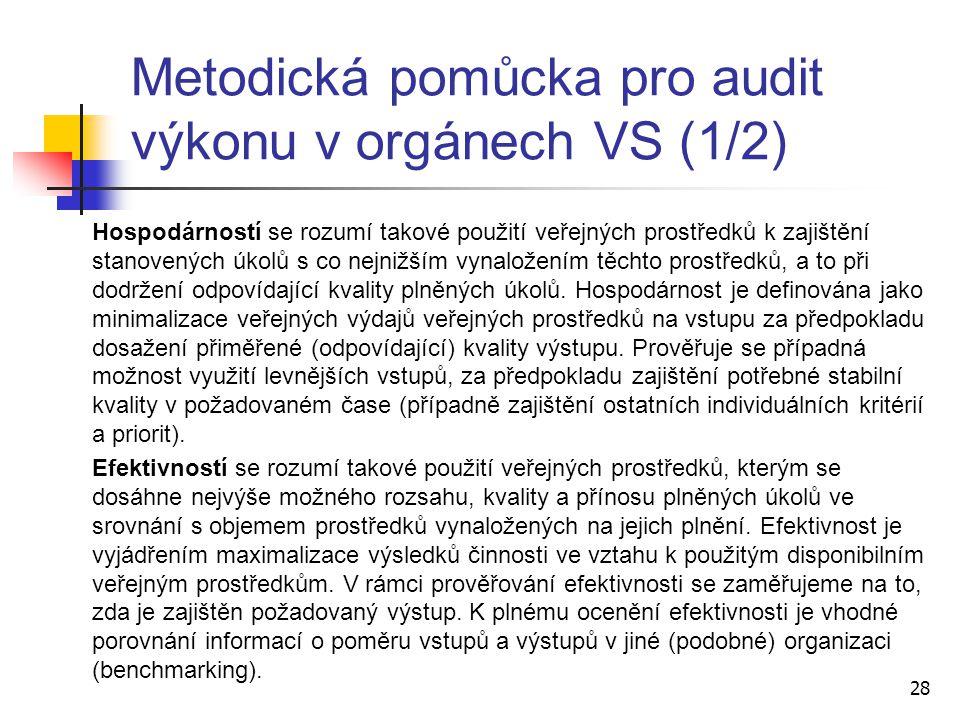 Metodická pomůcka pro audit výkonu v orgánech VS (1/2) Hospodárností se rozumí takové použití veřejných prostředků k zajištění stanovených úkolů s co