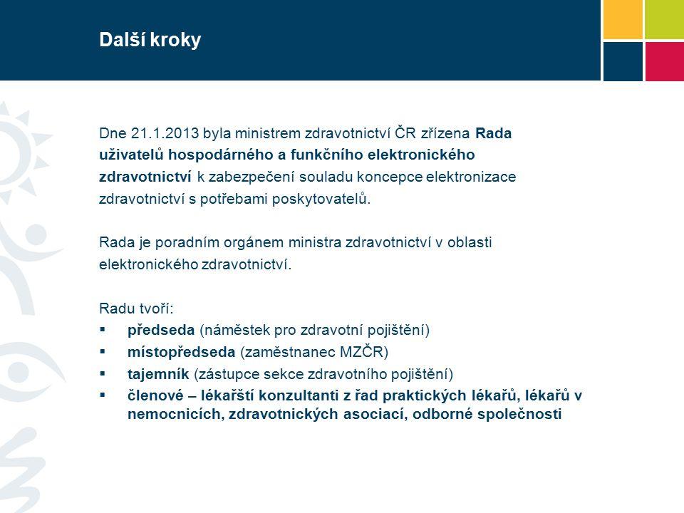 Další kroky Dne 21.1.2013 byla ministrem zdravotnictví ČR zřízena Rada uživatelů hospodárného a funkčního elektronického zdravotnictví k zabezpečení souladu koncepce elektronizace zdravotnictví s potřebami poskytovatelů.