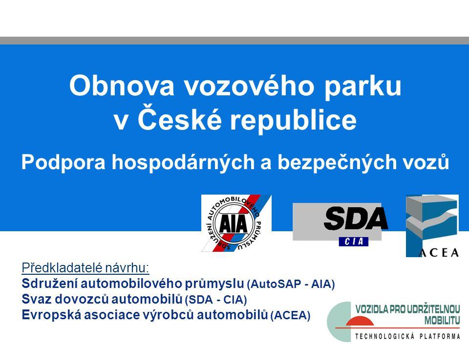 Obnova vozového parku v České republice Podpora hospodárných a bezpečných vozů Předkladatelé návrhu: Sdružení automobilového průmyslu (AutoSAP - AIA)