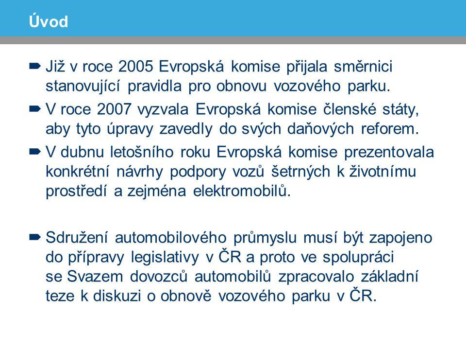 Možnosti modelu (kritéria vs nástroje) pro ČR  Výkon  Objem  Váha  Emise  Stáří vozidla  Bezpečnost vozidla  Motivační podpora hospodárných a bezpečných automobilů  Silniční daň pro všechny  Technické podmínky pro schvalování vozidel  Omezení vjezdu vozidel do center měst  Registrační poplatky Navázání kritérií na nástroje
