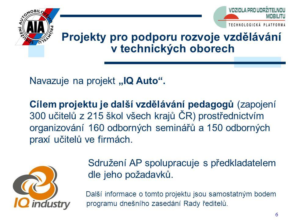 """6 Projekty pro podporu rozvoje vzdělávání v technických oborech Navazuje na projekt """"IQ Auto"""". Cílem projektu je další vzdělávání pedagogů (zapojení 3"""
