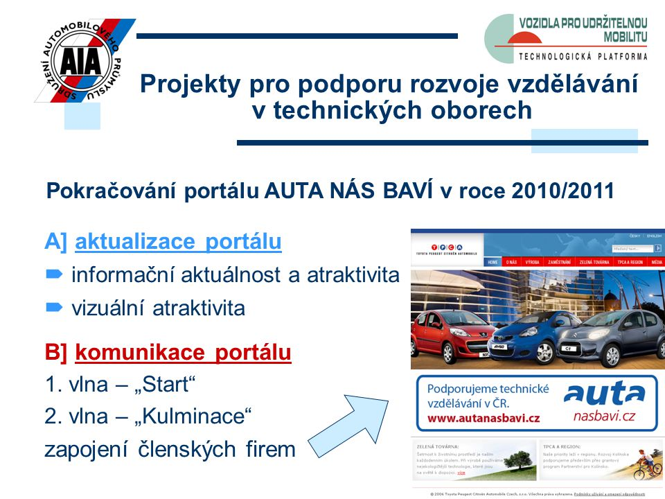 8 Projekty pro podporu rozvoje vzdělávání v technických oborech Pokračování portálu AUTA NÁS BAVÍ v roce 2010/2011 A] aktualizace portálu  informační
