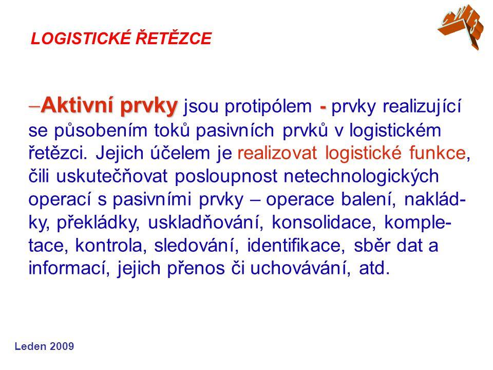 Leden 2009  Aktivní prvky -  Aktivní prvky jsou protipólem - prvky realizující se působením toků pasivních prvků v logistickém řetězci. Jejich účele