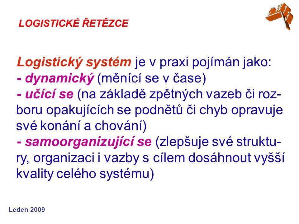 Leden 2009 Logistický systém je v praxi pojímán jako: - dynamický (měnící se v čase) - učící se (na základě zpětných vazeb či roz- boru opakujících se