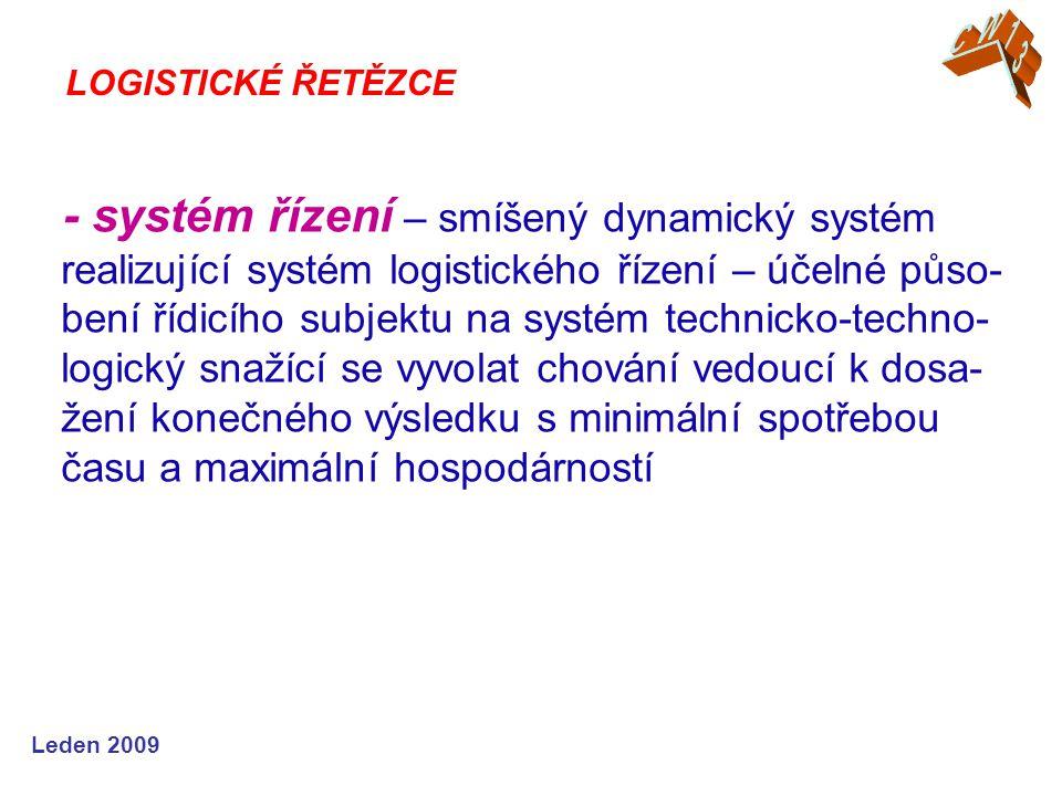 Leden 2009 - systém řízení – smíšený dynamický systém realizující systém logistického řízení – účelné půso- bení řídicího subjektu na systém technicko