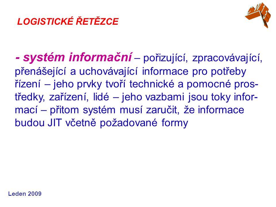 Leden 2009 - systém informační – pořizující, zpracovávající, přenášející a uchovávající informace pro potřeby řízení – jeho prvky tvoří technické a po