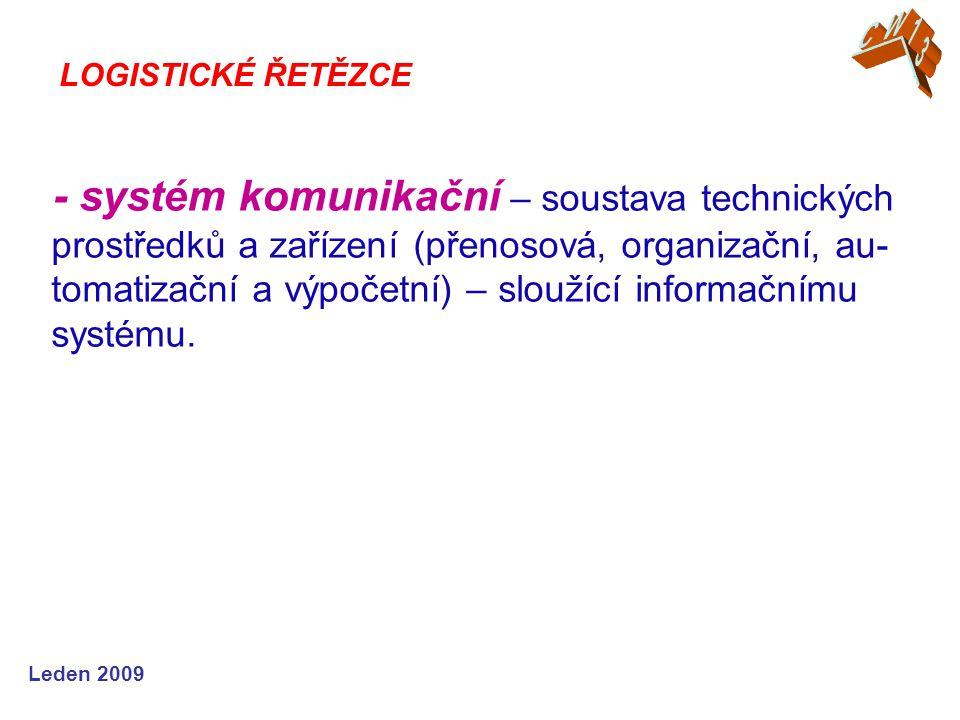 Leden 2009 - systém komunikační – soustava technických prostředků a zařízení (přenosová, organizační, au- tomatizační a výpočetní) – sloužící informač