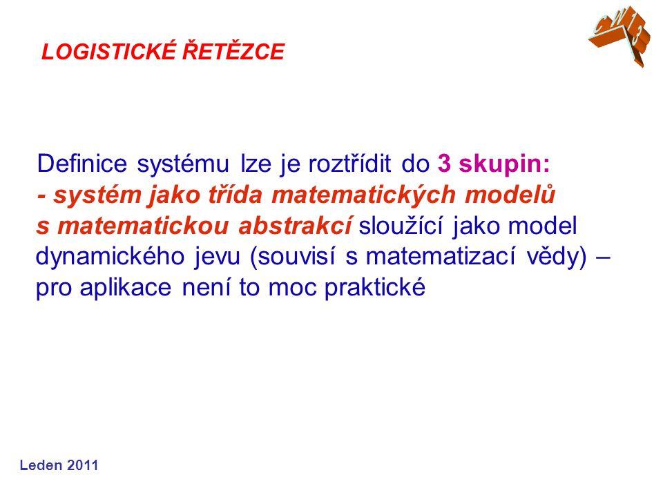 Leden 2011 Definice systému lze je roztřídit do 3 skupin: - systém jako třída matematických modelů s matematickou abstrakcí sloužící jako model dynami