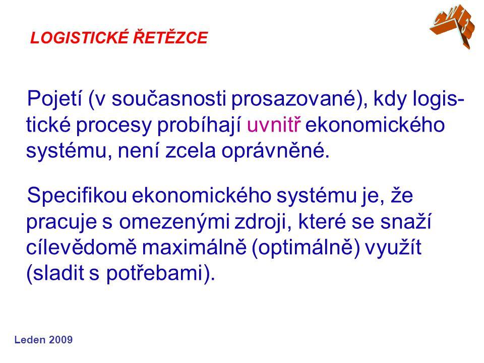 Leden 2009 Pojetí (v současnosti prosazované), kdy logis- tické procesy probíhají uvnitř ekonomického systému, není zcela oprávněné. Specifikou ekonom