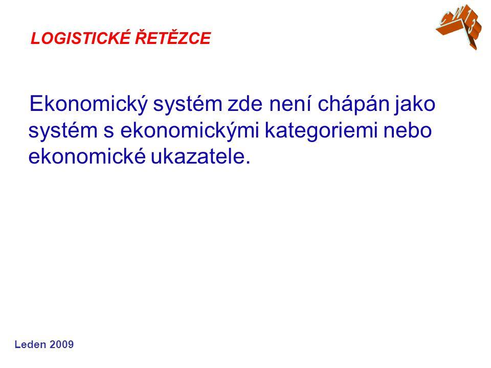 Leden 2009 Ekonomický systém zde není chápán jako systém s ekonomickými kategoriemi nebo ekonomické ukazatele. LOGISTICKÉ ŘETĚZCE