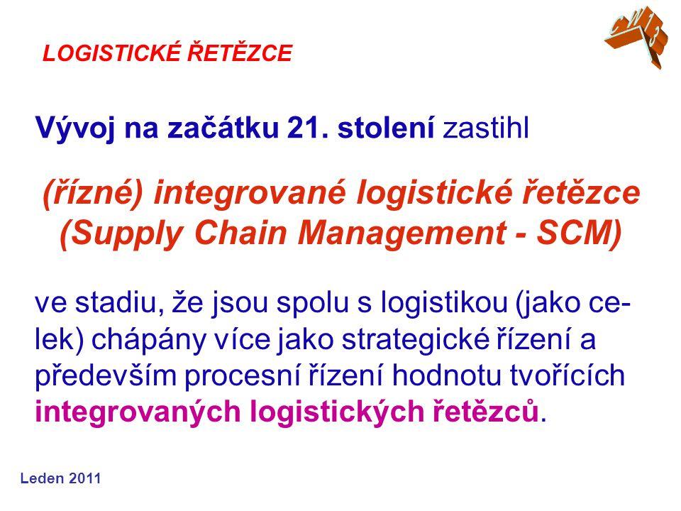 Leden 2011 Vývoj na začátku 21. stolení zastihl LOGISTICKÉ ŘETĚZCE ve stadiu, že jsou spolu s logistikou (jako ce- lek) chápány více jako strategické
