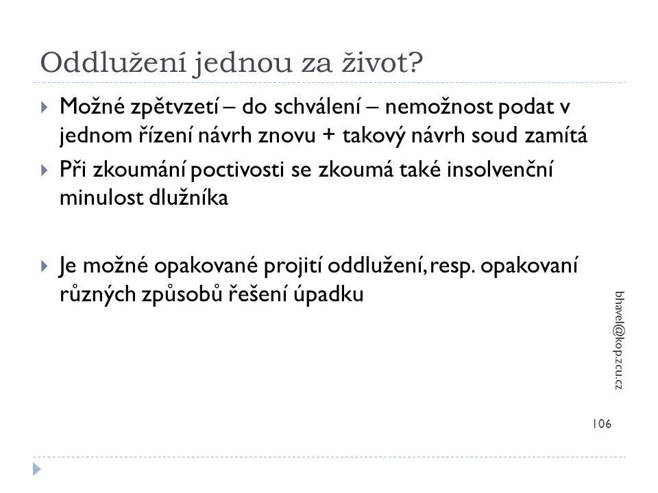 Oddlužení jednou za život? bhavel@kop.zcu.cz 106  Možné zpětvzetí – do schválení – nemožnost podat v jednom řízení návrh znovu + takový návrh soud za