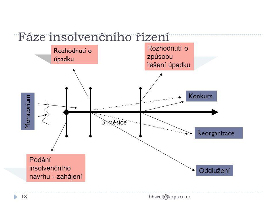 Fáze insolvenčního řízení bhavel@kop.zcu.cz18 Podání insolvenčního návrhu - zahájení Rozhodnutí o způsobu řešení úpadku 3 měsíce Konkurs Reorganizace