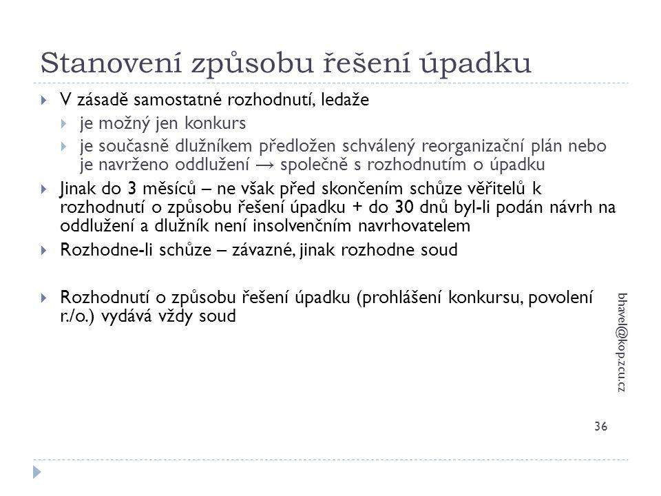 Stanovení způsobu řešení úpadku bhavel@kop.zcu.cz 36  V zásadě samostatné rozhodnutí, ledaže  je možný jen konkurs  je současně dlužníkem předložen