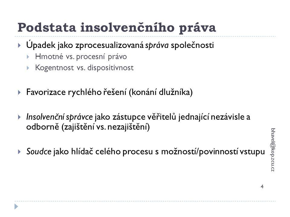 Postavení věřitelů bhavel@kop.zcu.cz 55  Odlišení podle pohledávek – zajištění a nezajištění věřitelé - § 167/2 – nekryje-li zajištění 100% pohledávky – ve zbytku nezajištěná pohledávka + výjimka v oddlužení  Zapodstatové pohledávky vzniklé po zahájení řízení  Odměna a náklady správce  Dtto VV  Náhrada zálohy na řízení  Zapodstatové pohledávky vzniklé po rozhodnutí o úpadku  Odměna a náklady správce  Náklady na správu podstaty  Náklady na znalce  Pohledávky ze smluv uzavřených osobou s dispozicí  Veřejnoprávní pohledávky – daně, clo, sociální apod.