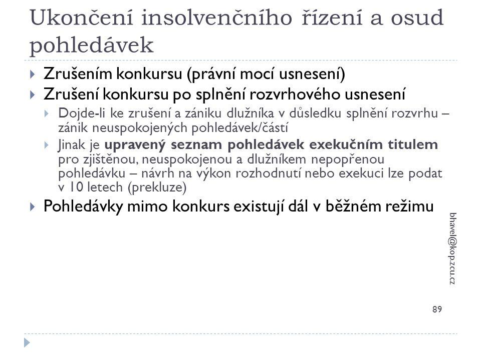 Ukončení insolvenčního řízení a osud pohledávek bhavel@kop.zcu.cz 89  Zrušením konkursu (právní mocí usnesení)  Zrušení konkursu po splnění rozvrhov