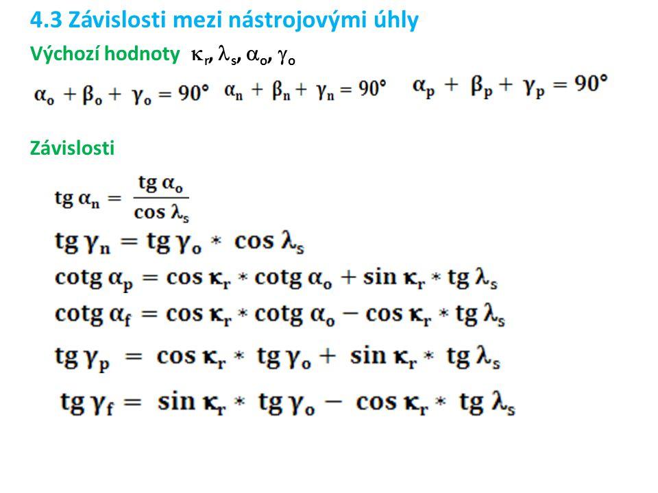 4.3 Závislosti mezi nástrojovými úhly Výchozí hodnoty  r, s,  o,  o Závislosti
