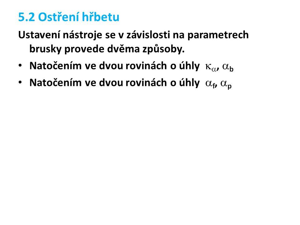 5.2 Ostření hřbetu Ustavení nástroje se v závislosti na parametrech brusky provede dvěma způsoby.