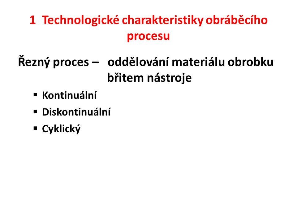 1 Technologické charakteristiky obráběcího procesu Řezný proces – oddělování materiálu obrobku břitem nástroje  Kontinuální  Diskontinuální  Cyklický